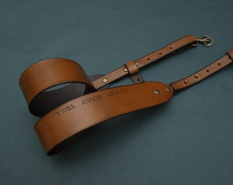 Camera Strap, Handcrafted Camera Strap, Personalized Leather Camera Strap, Nikon leather camera strap, I Will Always love You