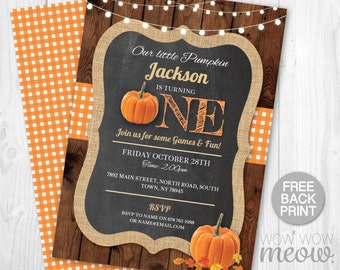 Pumpkin Birthday Invite Turning One 1st Boy's Girl's Twins INSTANT DOWNLOAD Our Little First Invitation Fall Wood Party Printable Editable