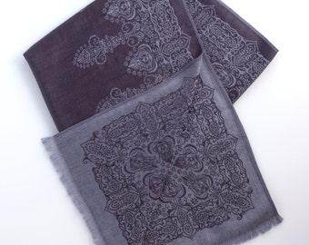 Grey metallic ottoman pashmina scarf