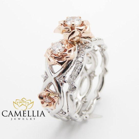 Three Stone Diamond Engagement Rings Set Natural Diamond Ring