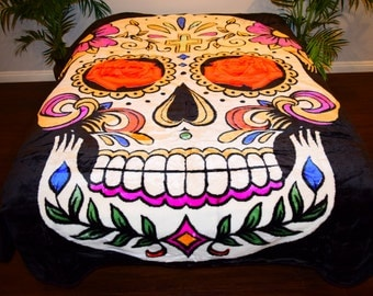 Buy any 3 get 1 free! NEW! 5 Pounds! Super Soft QUEEN Korean Style Mink Blanket Skelton Colorful Sugar Skull Bones dias de los muertos