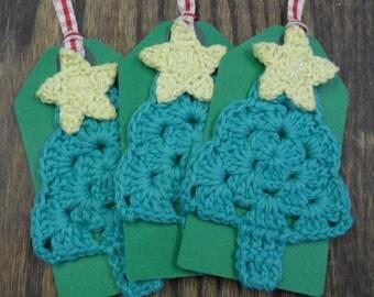 Set of 3 Crochet Christmas Tree Gift Tags
