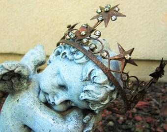 Antique Jeweled 5-Point 4 Star Crown Tiara - Santo Corona (Large)