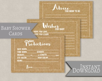 Set of 3 Baby Shower printable cards, advice for mom to be, baby predictions, wishes for baby, rustic baby printables baby shower 5x7