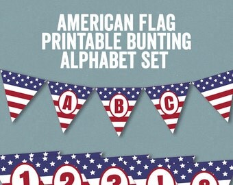 Printable American Flag Bunting, Alphabet Bunting printable, American flag printable banner, usa flag 4th july bunting, instant download