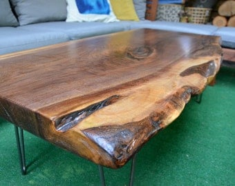 Black Walnut Live Edge Coffee Table ~ Hair Pin Legs
