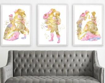 Set of 3 watercolor print Disney princess Buy 2 Get 1 FREE Beauty and the beast Cinderella Ariel Belle Disney Wedding Gift Disney Bride gift