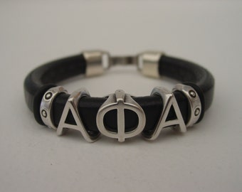 ALPHA PHI ALPHA Sliding Greek Letters Leather Custom Made Mens Bracelet Your Initials Silver Tone Clip Clasp Choose Color