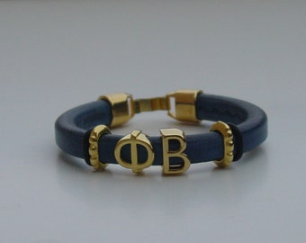 Phi Beta Greek Sliding Letters Leather Handmade Mens Bracelet Gold Tone Clasp Initials Alphabet Choose Your Regaliz Color