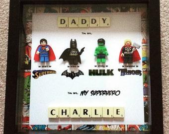 My daddy my superhero frame great gift for dad, daddy, grandpa batman, thor, superman & hulk lego marvel mini figs included