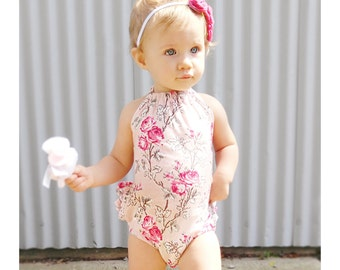 Baby Pink Floral Ruffle Back Baby Romper