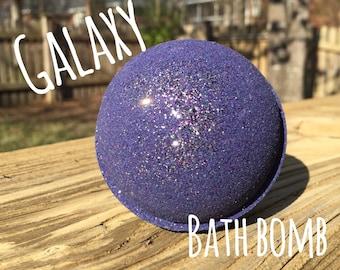 Galaxy Bath Bomb - moisturizing, lavender essential oil, galaxy space glitter or body safe sparkle mica, purple bath bomb