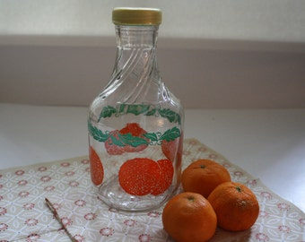 Vintage Orange Juice Carafe, Juice Container, Juice glass Bottle, Juice Container,  Glass Container, Country Kitchen, Breakfast juice
