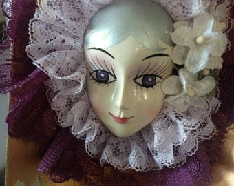 1980's Brooch plastic made to look porcelain doll head