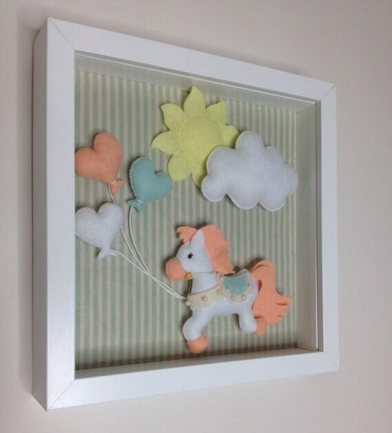 Felt horse box frame nursery decor baby decor wall by for Room decor embellishment art 3d