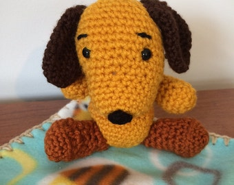 Hand Made Stuffed Puppy Dog and Blanket