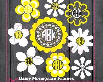 Daisies 9  monogram daisy frames  - svg, png, jpg cutting file - summer, spring cutting file, cricut circle die cut vinyl cutters  flowers