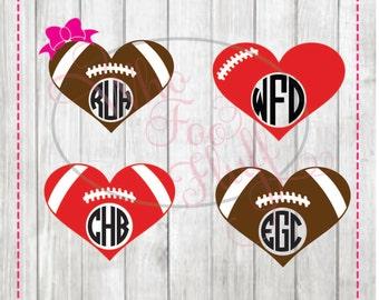 Football heart  monogram frames (4) styles - svg, png, jpg cutting file - football bow cutting file, cricut circle die cut vinyl cutters