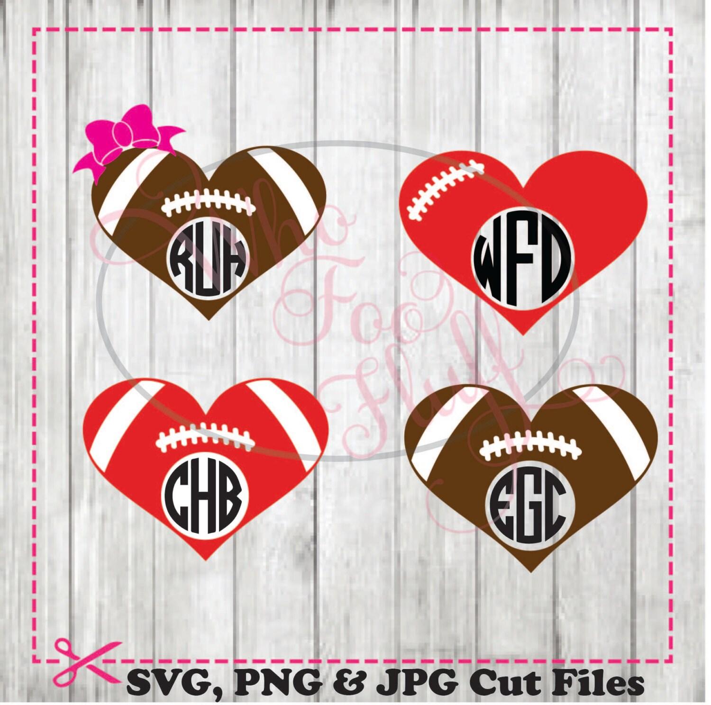 Football heart monogram frames (4) styles - svg, png, jpg ...