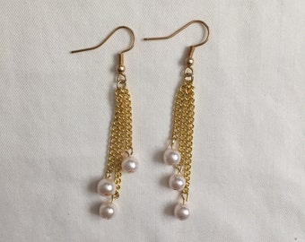 Pink Pearl and Gold Chain Drop Earrings