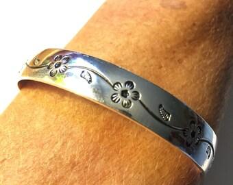Tibetan Silver Flower Bangle Bracelet