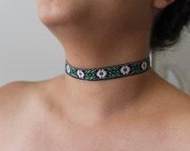Floral Ribbon Choker Necklace. Ribbon Necklace. Flower Ribbon Choker. Bohemian Choker. 90s Grunge Choker. Hippie Choker. Boho Hippe Necklace