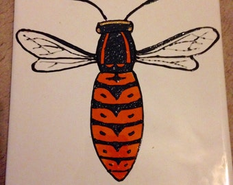 Ceramic Tile Painting, Original. Yellow jacket wasp bug creepie crawley insect plaque