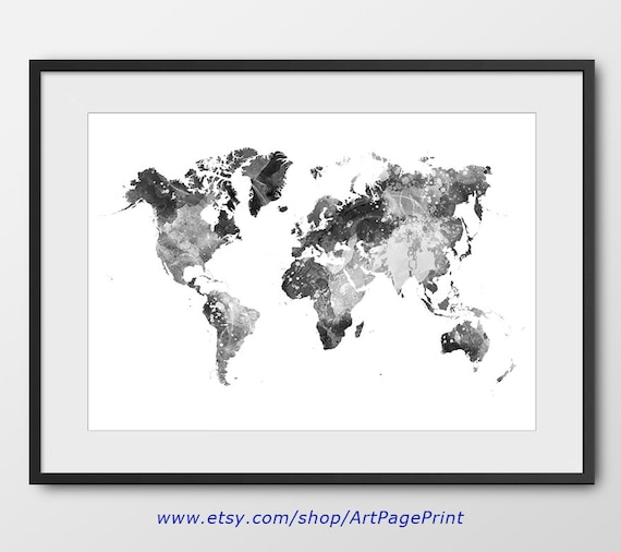world map watercolor black and white print map poster map. Black Bedroom Furniture Sets. Home Design Ideas