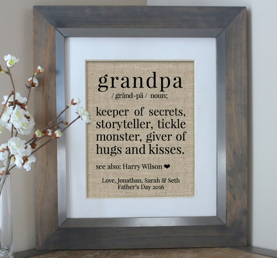 custom burlap wall art for grandpa