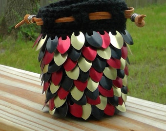 Red Gold and Black Dragon Scale Dice Bag