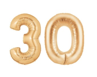 """Gold 30 Balloon, 14"""",40"""",  Gold, Number Balloons, Copper Gold, 30th Birthday Balloons, Number, 30, 30th, Hashtag, #, Copper, Gold"""
