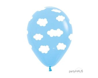 """Cloud Balloons, NEW! 11"""" Cloud Latex Balloons , Blue with White Clouds, Cloud, Cloud Balloon, Pkg 10, Baby Shower Balloons, Baby Decor"""