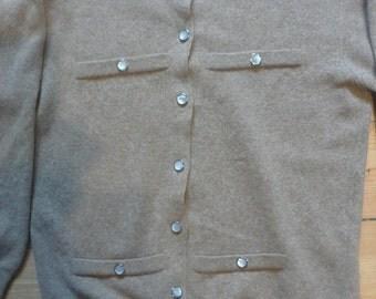 Vintage Johnstons of Elgin camel cardigan made in Scotland M/L size