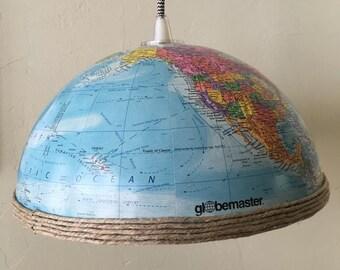 World Globe Pendant Light Shade w/ Wrapped Cord