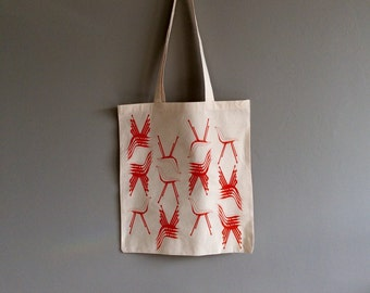 Screen Printed Tote Bag - Polyprop Chairs in Orange