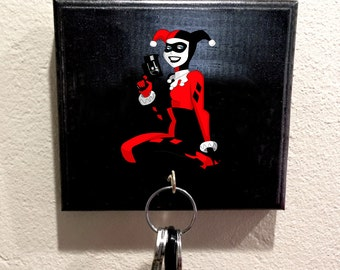 Harley Quinn, Harley Quinn Decal, Mario Sticker, Handmade wooden key holder,Single Key Hook jewelry holder, Key Hook, Gift, For Her, For Him