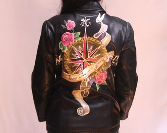 Hand Painted Leather Jacket - I know where i'm going