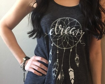 Dream Graphic Women's Tank Top|Dreamcatcher|Feathers|Hand drawn and designed|