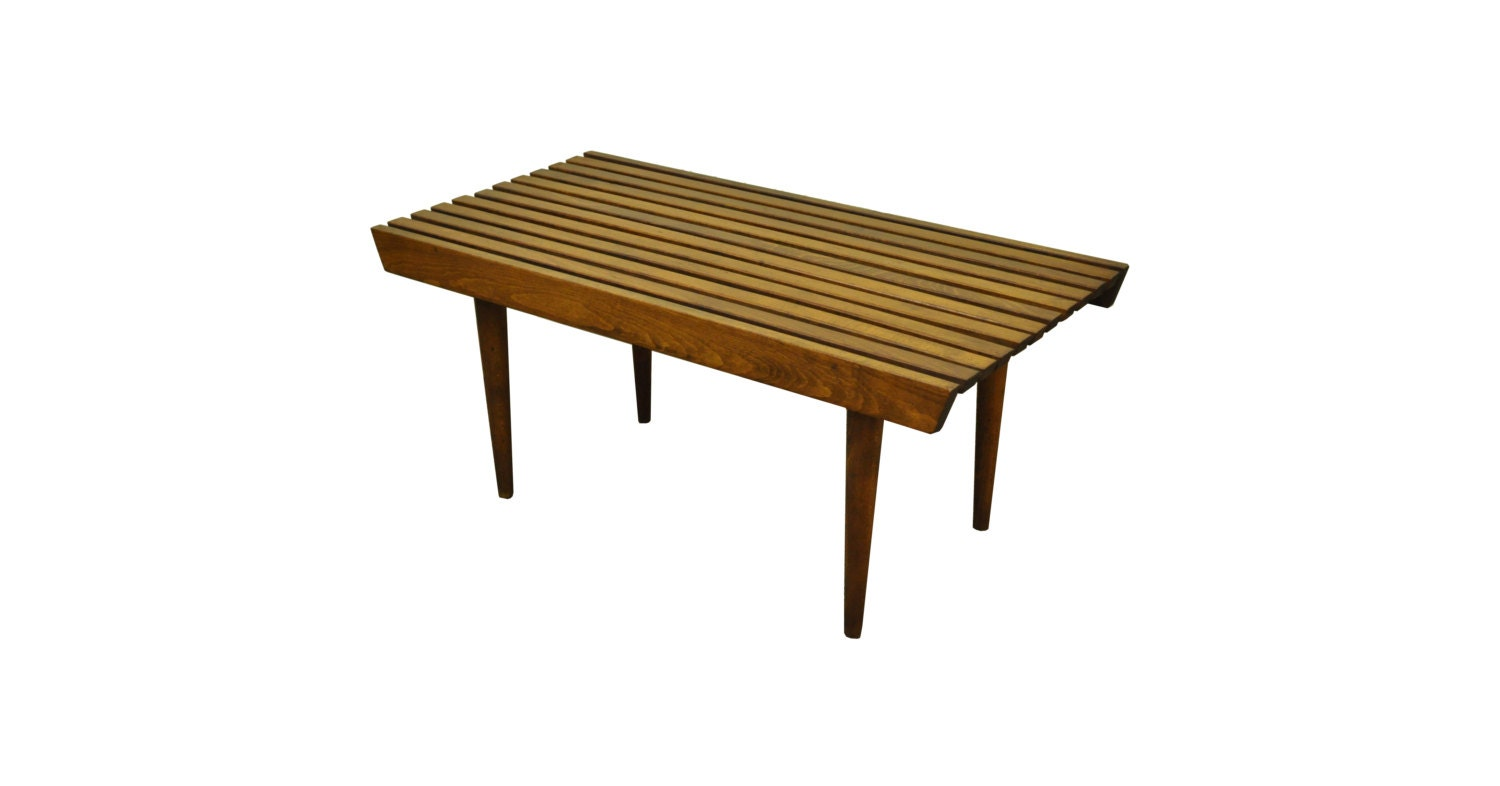 Vintage 36 Mid Century Modern Slat Bench Coffee Table
