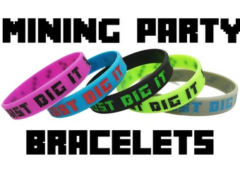 15 Pack - Pixelated Miner Game Truck Themed Birthday Party Supplies Bracelets - Great for Party Favors Goody Loot Bags Decorations