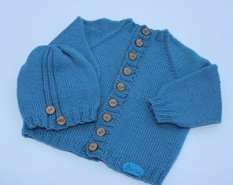 Hand knitted baby sweater. Merino wool sweater. Knitted baby sweater. Knitted baby clothes. Baby cardigan, knit baby sweater