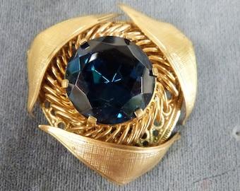 Beautiful Large Dark Blue Stone Goldtone Triangle Vintage Brooch