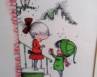 Vintage Joan Walsh Anglund Framed Christmas Print Free Shipping