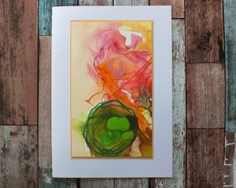 Abstract art original greetings card, OOAK unique contemporary mini painting, expressionist loose style, blank inside, modern art, notelet