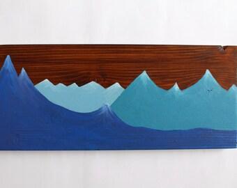 Mountain Series, La Tania, Three Valleys, France. Wooden sign. Wood sign. Snowboarding. Skiing. Mountain decor. Home decor.