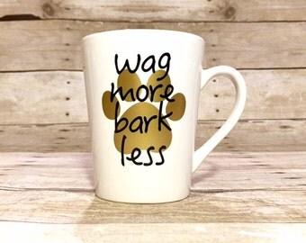 Wag More Bark Less - Custom Dog Themed Stemless Wine Glass
