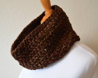 Brown Tweed Crochet Chunky Wool Cowl, Circle Scarf, Ready to Ship, Chunky Cowls, Fall Colors, Christmas Gift, Gift Ideas, Neck Warmer, Soft