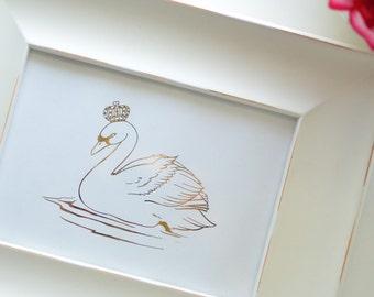 Swan Princess in Gold Foil Art Print (8x10 or 5x7)