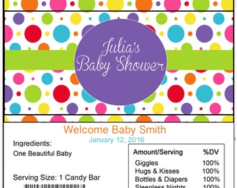 Polka Dots Baby Shower Candy Bar Wrapper