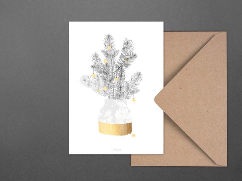 Weihnachtskarte Urban Christmas No. 1 / Vase, Branches, Postcard ...